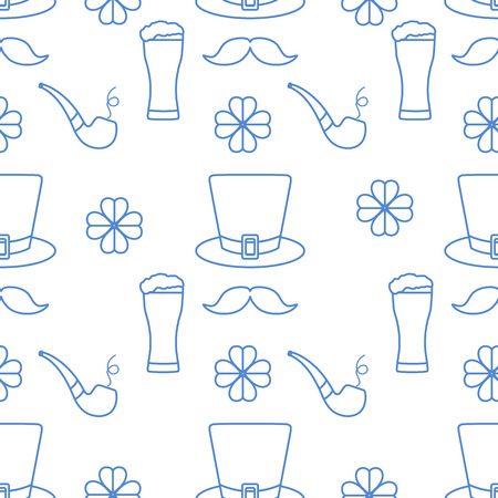 Seamless pattern with clover leaves, mustache, glass of beer, hat, smoking pipe. St. Patricks Day. Holiday background. Irish vector pattern. Design for banner, poster, textile, print. Illustration
