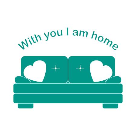 Illustrazione vettoriale con divano, cuscini a forma di cuore. Iscrizione Con te sono a casa. San Valentino, matrimonio. Sfondo romantico. Modello per biglietto di auguri, tessuto, stampa.