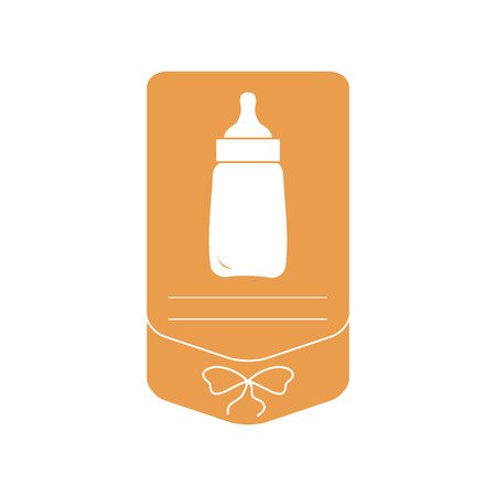 Vector illustration with baby bottle. Feeding bottle. Things necessary for newborns. Nutrition for babies. Banque d'images - 124590423