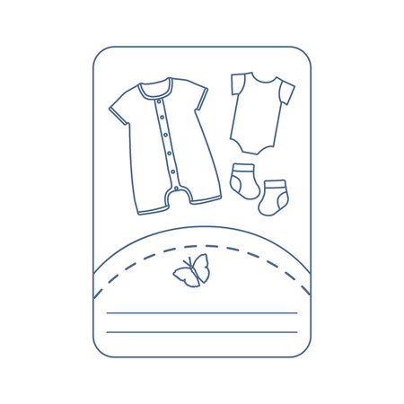 Vector illustration with baby clothes. Slip, socks, bodysuit. Things necessary for newborns. Banque d'images - 124590430