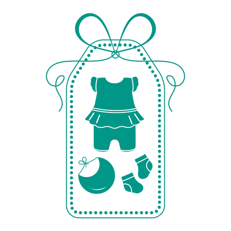 Vector illustration with baby clothes. Bib, socks, bodysuit. Things necessary for newborns. Banque d'images - 124590446