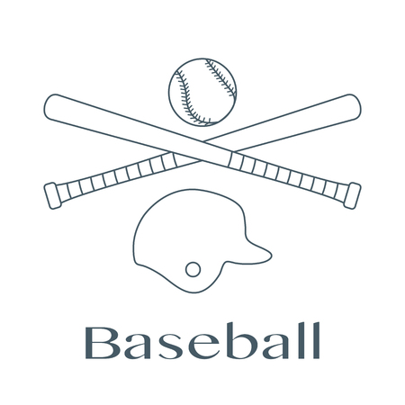 Vector illustration with baseball bats, ball, helmet. Sports background. Design for banner, poster or print. Banque d'images - 124590456