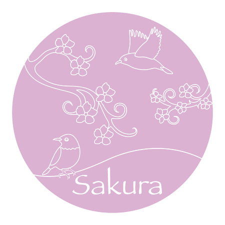 Sakura branches and japanese birds. Japan traditional design elements. Branches of cherry blossoms. Travel and leisure. Illustration