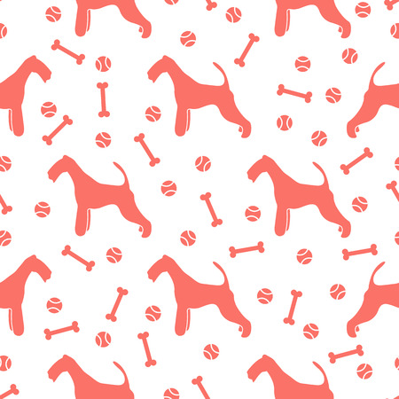 Seamless pattern with dog, bone, tennis ball. Friendship. Animal background.