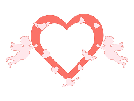 Vector illustration with  cupids, hearts, arrow. Happy Valentine's Day, birthday, wedding romantic background. Design for party card, banner, poster or print. Illustration