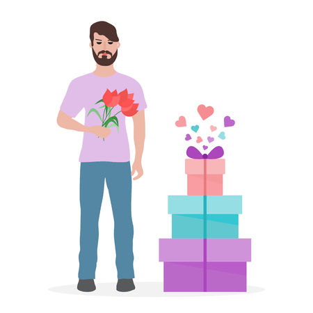 Young man with flowers and gift boxes. Birthday, Valentine's day, Mother's Day vector background. Design for greeting card, banner, poster or print. Vettoriali