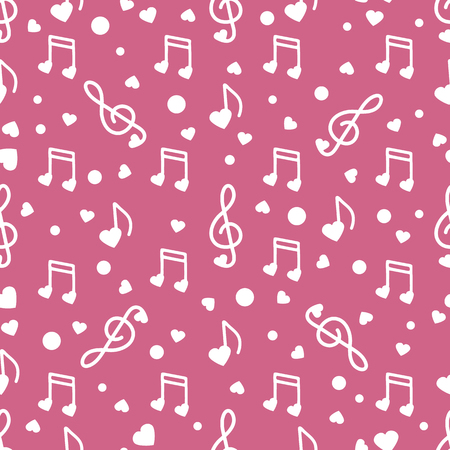 Seamless pattern with notes, hearts. Birthday, Valentine's day, Mother's Day, Father's day, wedding vector romantic background. Template for greeting card, design, fabric, print.