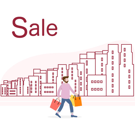 Vector illustration with cityscape, man carry shopping. Big sale and shopping concept. Design for banner, poster or print.