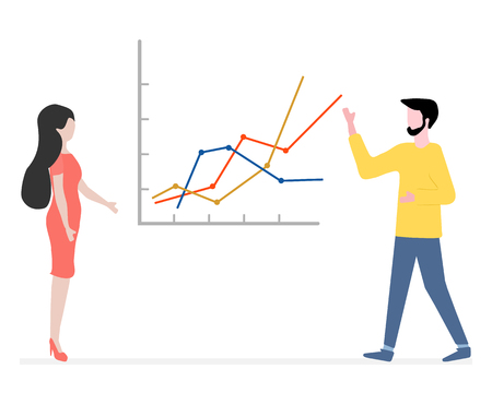 Vector illustration with people having business meeting. People discuss and make decisions background. Presentation, partnership. Brainstorming concept. Design for banner, poster or print.