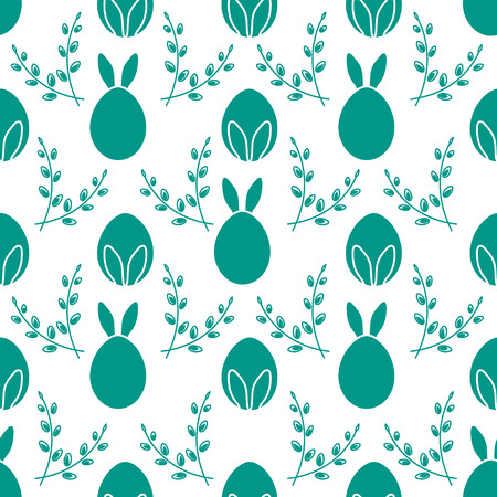 Seamless pattern with Easter Bunny ears, eggs, willow branches. Happy Easter. Festive background. Design for banner, poster or print.
