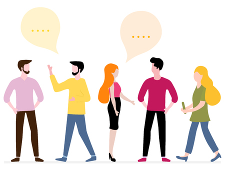 Vector illustration with people communicate with each other. Business people discuss and make decisions background. Social network. Group chat. Design for banner, poster or print.