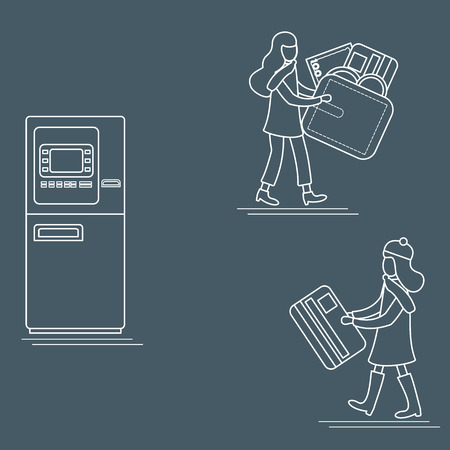 Vector illustration with two girls use ATM services. Bank card, wallet, banknote, coin. Personal finance management. Design for banner, poster or print.