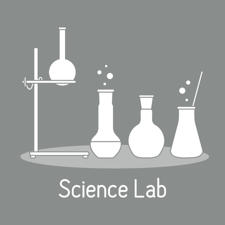 Vector science illustration with flasks, equipment stand. Laboratory equipment. Education elements. Chemistry, biology, medicine.