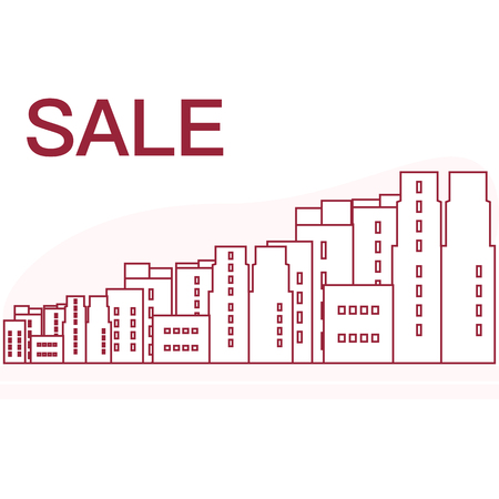 Vector illustration with cityscape. Inscription sale. Big sale and shopping concept. Design for banner, poster or print.