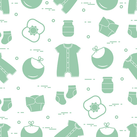 Seamless pattern with goods for babies. Newborn baby background. Bib, baby food can, rattle, socks, diapers, bodysuit. Illustration