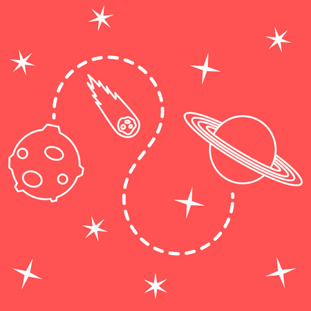 Vector illustration with planets, meteorite, stars. Space exploration. Astronomy. Science background. Design for astronomy apps, websites, print.