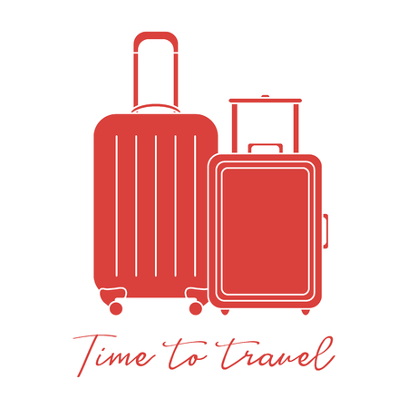 Vector illustration with two suitcases. Summer time, vacation. Leisure. Ilustração