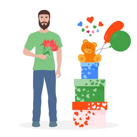 Giovane con fiori e scatole regalo, palloncini, orsetto di peluche. Compleanno, San Valentino, sfondo vettoriale festa della mamma. Design per biglietto di auguri, banner, poster o stampa. Vettoriali