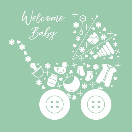 Vektorillustration mit Kinderwagen, Waren für Babys. Neugeborenes Baby Hintergrund. Babynippel, Socken, Windel, Body, Ente, Lätzchen, Babynahrungsglas, Pyramide, Rassel.