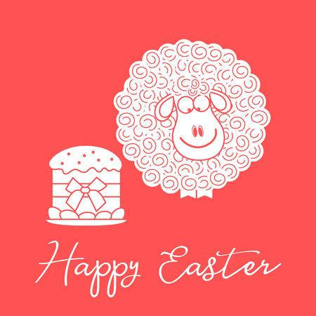 Vector illustration with Easter cake, eggs, lamb. Greeting card Happy Easter. Festive background. Design for banner, poster or print. Ilustração