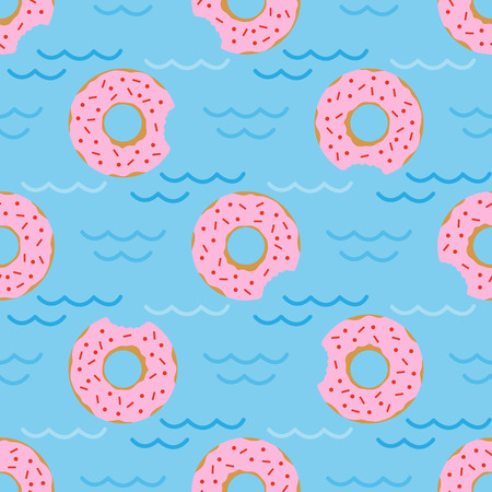 Seamless pattern with inflatable swim ring in the form of a sweet donut. Summer holidays. Pool floating toys. Trendy design concept for summer fashion textile print.