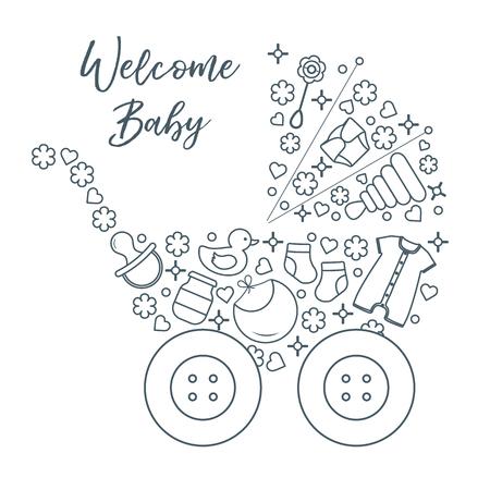 Illustration vectorielle avec poussette de bébé, produits pour bébés. Fond de bébé nouveau-né. Tétine bébé, chaussettes, couche, body, canard, bavoir, pot pour bébé, pyramide, hochet.