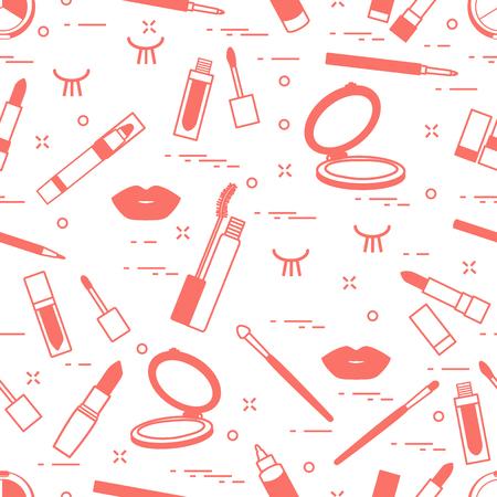 Vector seamless pattern with eyelashes, mascara, lips, lipstick, mirror, brush, pencil. Decorative cosmetics, makeup background. Glamour fashion vogue style.