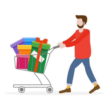 Man with shopping cart full of gifts. Shopping man. Boxing day sale. Black Friday. Special Offer. Design concept for banner,  promotional materials, print.