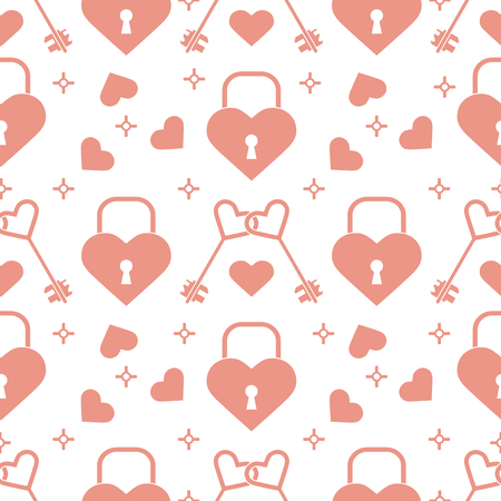Seamless pattern with hearts, lock, keys in heart shape. Greeting card happy Valentine's Day. Romantic background. Design for banner, poster or print.
