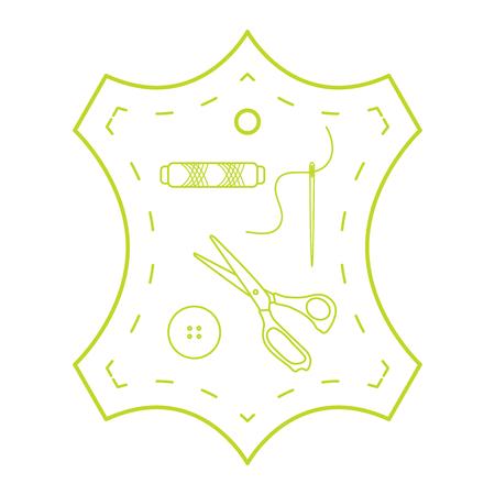Illustration vectorielle avec outils et accessoires pour la couture. Bouton, fil, ciseaux, aiguille. Modèle pour la conception, le tissu, l'impression.