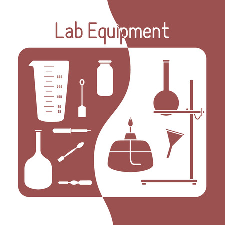 Vector science illustration with flasks, equipment stand, burner, tools. Laboratory equipment. Education elements. Chemistry, biology, medicine. Illustration