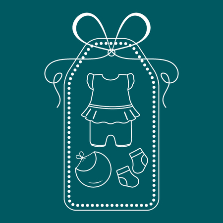 Vector illustration with baby clothes. Bib, socks, bodysuit. Things necessary for newborns.