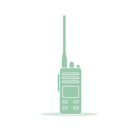Vector illustration with walkie talkie. Portable radio, communications and security. Mobile transceiver. 写真素材 - 119539810