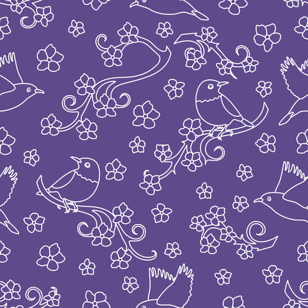 Seamless pattern with sakura branches, birds. Japan nature. Branches of cherry blossoms. Design for card, announcement, advertisement, banner or print.