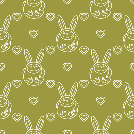 Seamless pattern with cartoon rabbits and hearts. Birthday, Valentine's day, Happy Easter vector background. Festive background. Easter Bunny, rabbit, hare.