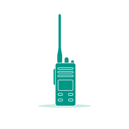 Vector illustration with walkie talkie. Portable radio, communications and security. Mobile transceiver.  イラスト・ベクター素材