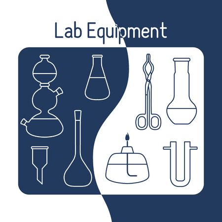 Vector science illustration with flasks, burner, funnel, tools. Laboratory equipment. Education elements. Chemistry, biology, medicine.