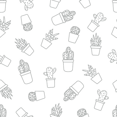 Vector seamless pattern with cactus and succulents. Trendy background. Tropical plants.