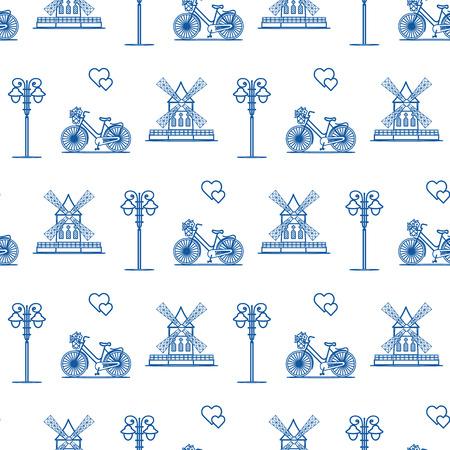 Modèle sans couture avec moulin à vent, vélo, lanterne. Voyages et loisirs. Conception pour la bannière et l'impression.