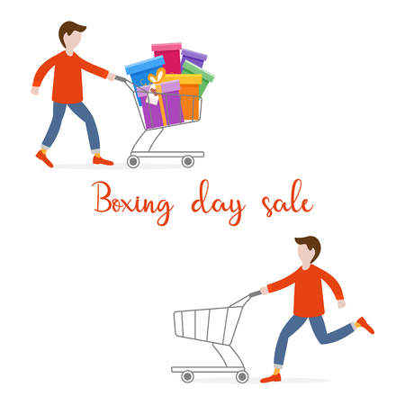Man with shopping cart empty and full of gifts. Shopping man. Boxing day sale. Black Friday. Special Offer. Design concept for banner,  promotional materials, print.