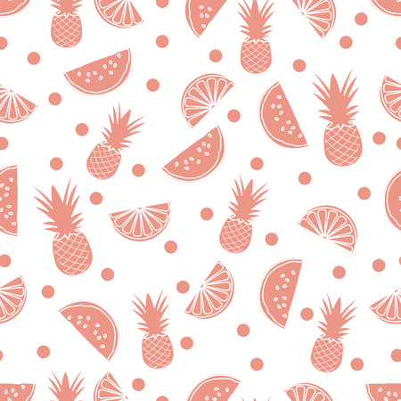 Seamless pattern with pineapples, orange slices, watermelon slices. Tropical fruit. Summer background.