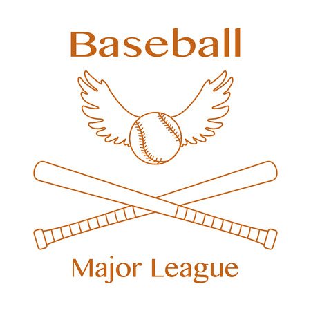Vector illustration with baseball bats, ball with wings. Sports background. Design for banner, poster or print.