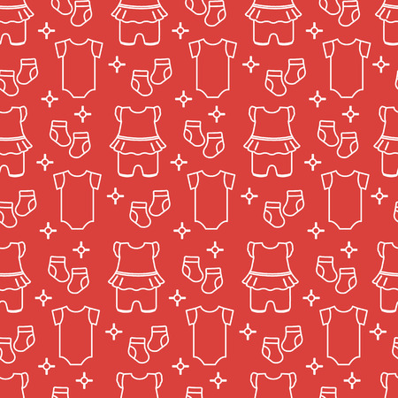 Seamless pattern with baby clothes. Vector illustration with slip, socks, bodysuit. Newborn baby background.