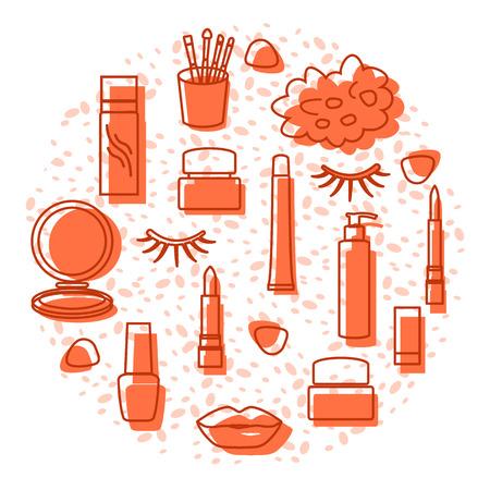 Vector illustration with eyelashes, lips, lipstick, mirror, brush, cream, nail polish, spray, shower sponge. Decorative cosmetics, care products, makeup background. Glamour fashion vogue style. Vettoriali