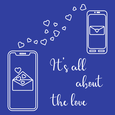Vector illustration with two mobile phones, hearts and love correspondence. Love message. Happy Valentine's Day. Romantic background.