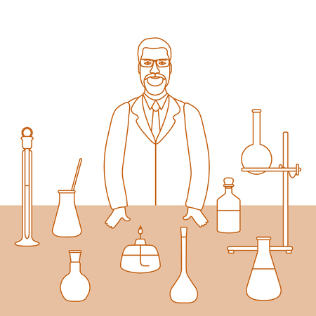 Vector illustration with scientist at work, glassware flasks, burner, equipment stand. Laboratory equipment. Education. Science, chemistry, biology, medicine, pharmacy, experiment.
