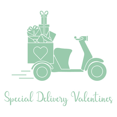 Delivery motorbike. Special delivery valentines. Happy Valentine's Day. Romantic background.