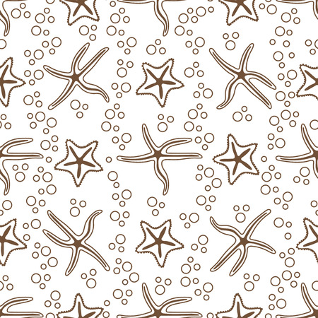 Vector seamless pattern with starfish. Marine background. Design for banner, poster or print.