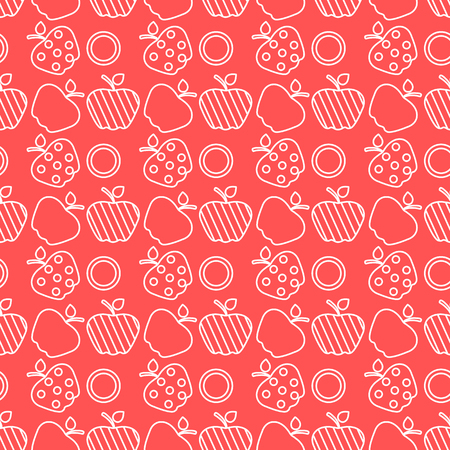 Seamless pattern with apples. Vector illustration with apple and leaf. Fruit background. Design for poster, textile, greeting card. Иллюстрация