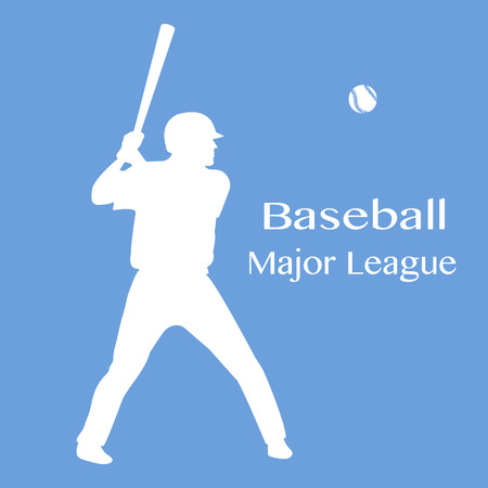 Vector illustration with baseball player standing with bat in his hands and ball. Sports background. Design for banner, poster or print. Illustration